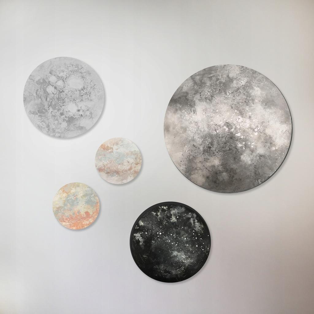 obrazy tonda zestaw Kosmos olej Lidia Wnuk ART
