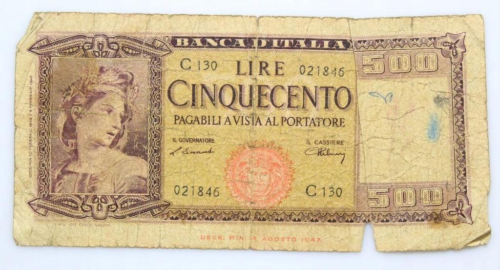 BANKNOT - Włochy - 500 Lir 1947