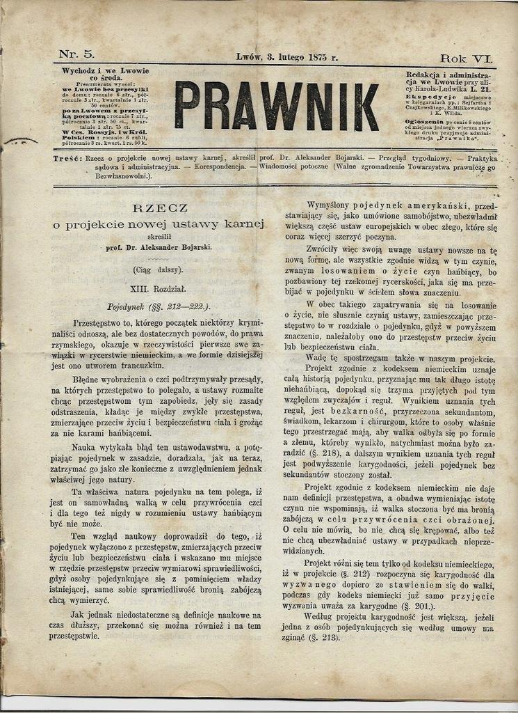 PRAWNIK 1875 Adwokatura Sądownictwo Lwów Nowy Sącz
