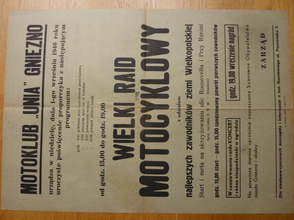MOTOKLUB UNIA GNIEZNO RAJD MOTOCYKLOWY 1946