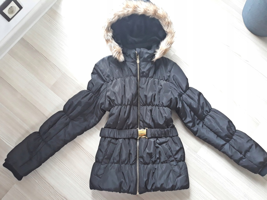 Czarna zimowa kurtka H&M r. 158 12-13 lat
