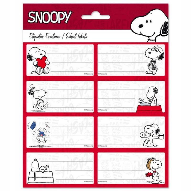 Snoopy - Naklejki na zeszyt lub książkę 8 x 4 cm