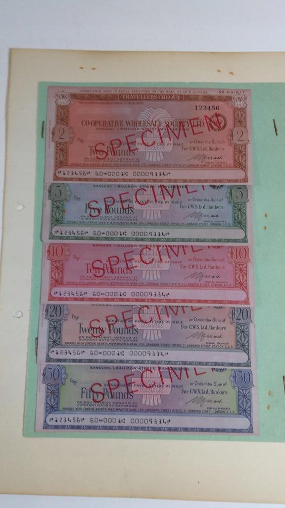Czek podróżny, specimen, 2, 5, 10, 20, 50 FS, CWS