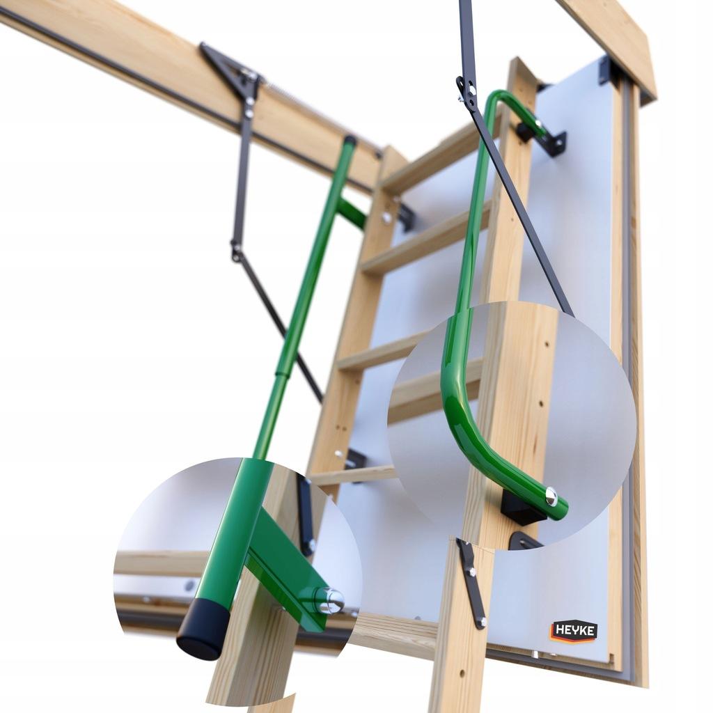 Pasywne schody strychowe HEYKE z 2 poręcz 120x60