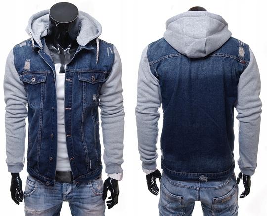 kurtki jeansowe meskie z naklejkami