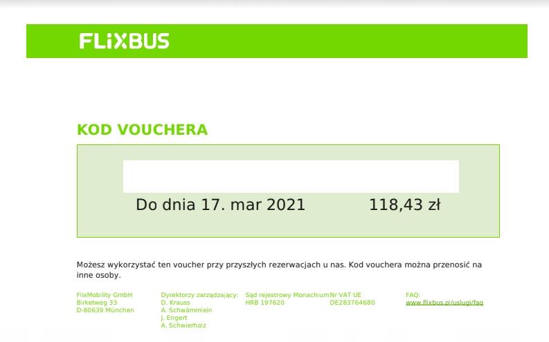 FLIXBUS - voucher (118,43 zł)