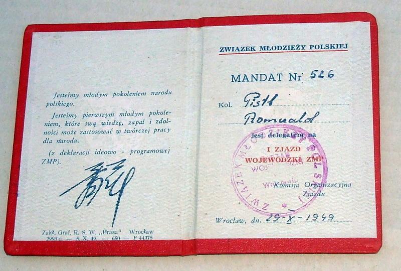 Mandat I Zjazdu Wojew. ZMP Wrocław 1949 - R.Pistl.
