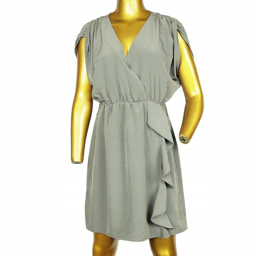 8445 H&M Kimonowa szara sukienka _ r. 42