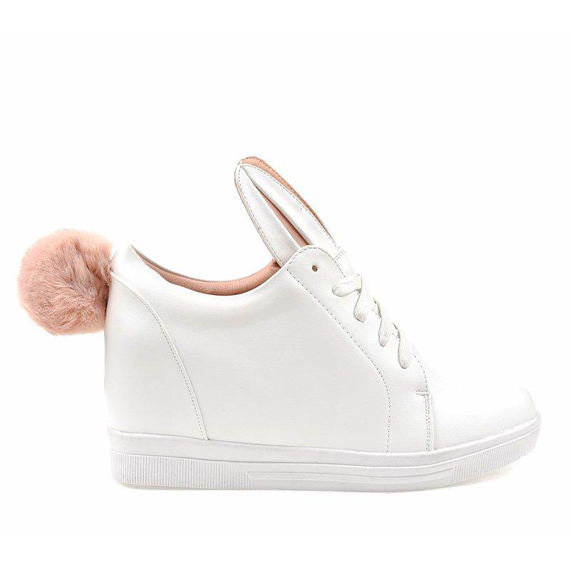 Białe sneakersy na koturnie króliczki r.37