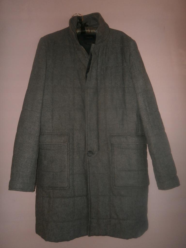 Zara pikowany wełniany płaszcz L