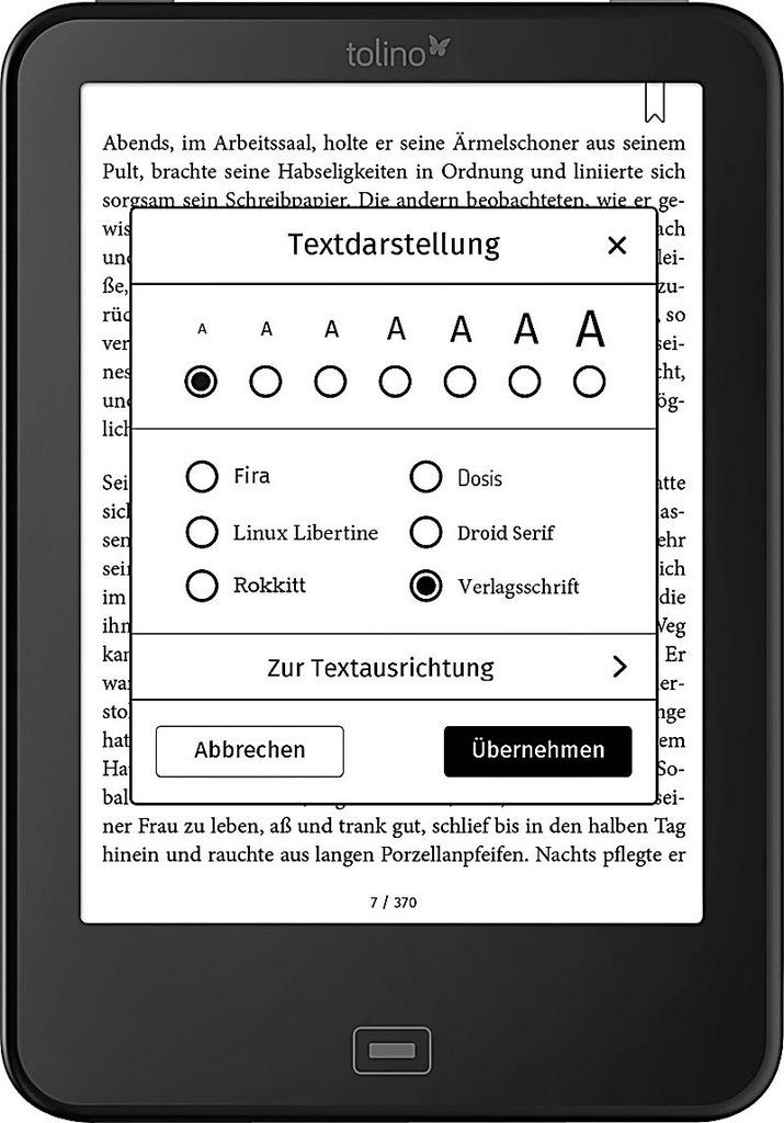 Czytnik Ebook Tolino Vision 2 PL Podświetlenie