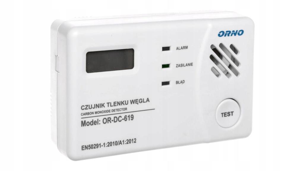 Bateryjny czujnik tlenku węgla (czadu) prostokątny