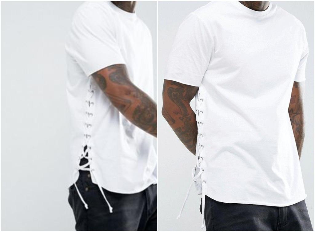 @415 t shirt MĘSKI biały wiązania po bokach XXXS