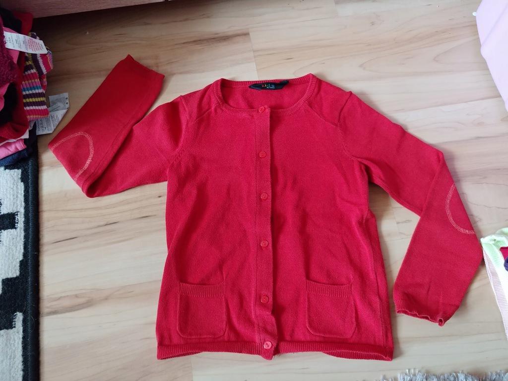 TCHIBO sweterek wiosna czerwony 5-6l 110-116cm