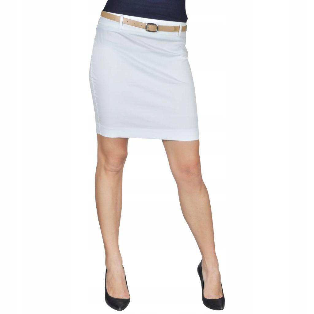 Spódnica mini z paskiem, biała, 34