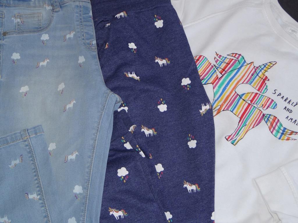 NEXT komplet r164 bluza+2xspodnie JEDNOROŻEC dres