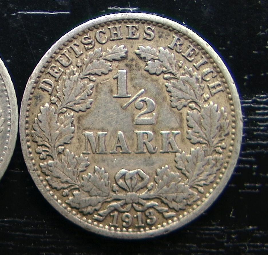 NIEMCY 1/2 MARKI 1913 J - srebro, rzadkie