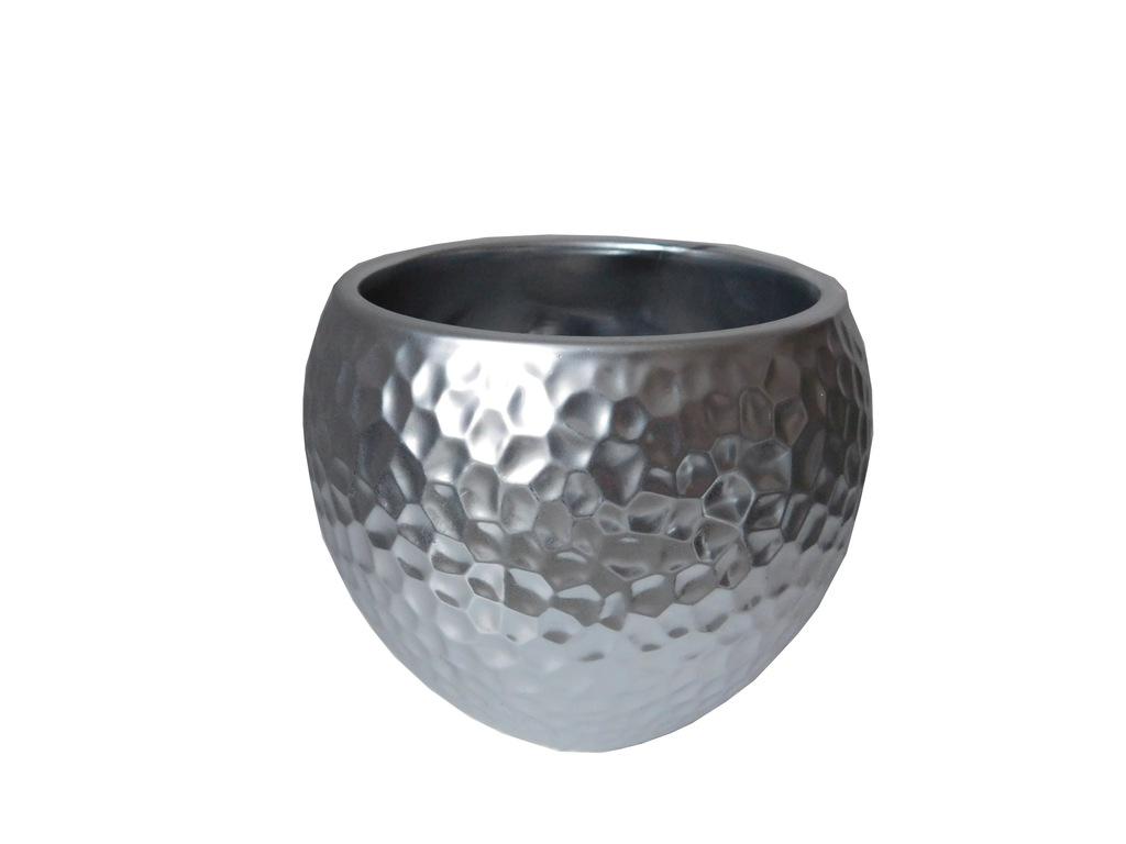 donica doniczka ceramiczna SREBRNA GLAMOUR