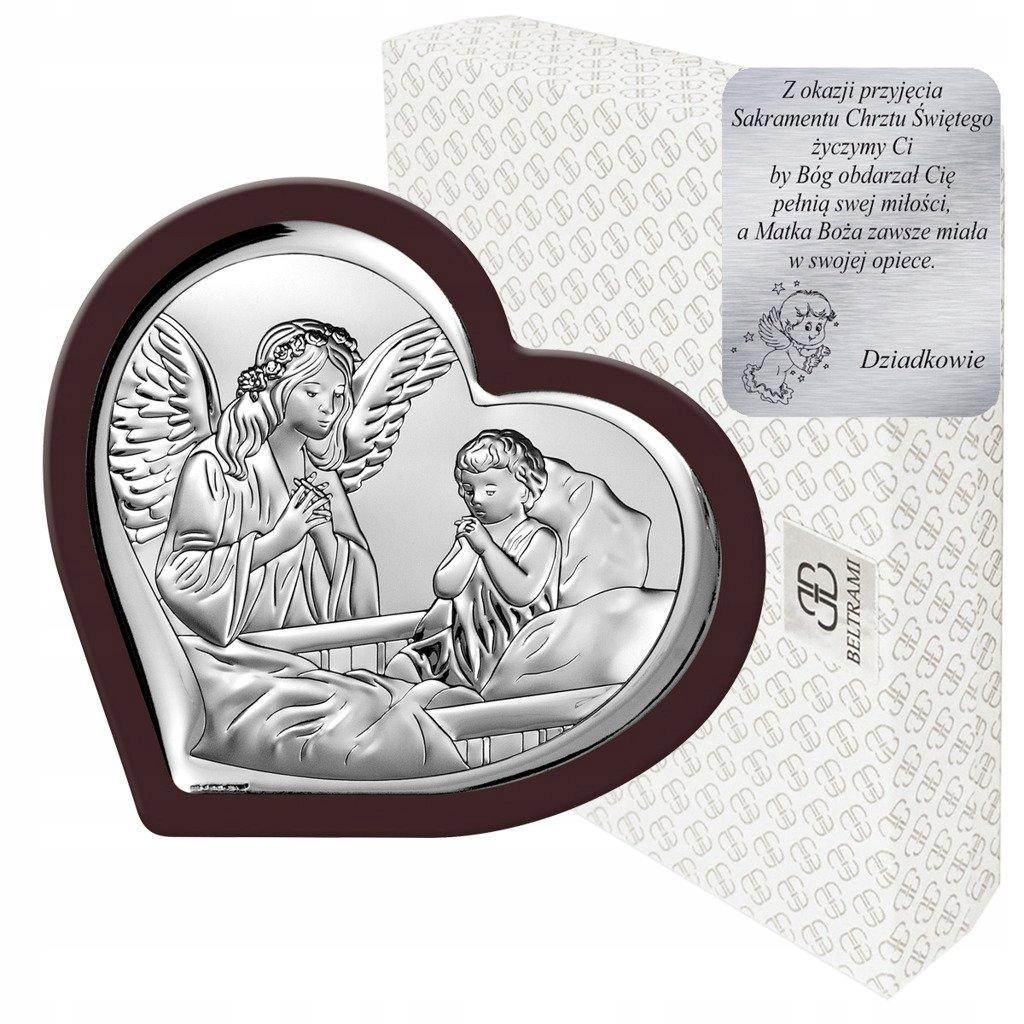 Obrazek srebrny Anioł Stróż nad łóżeczkiem