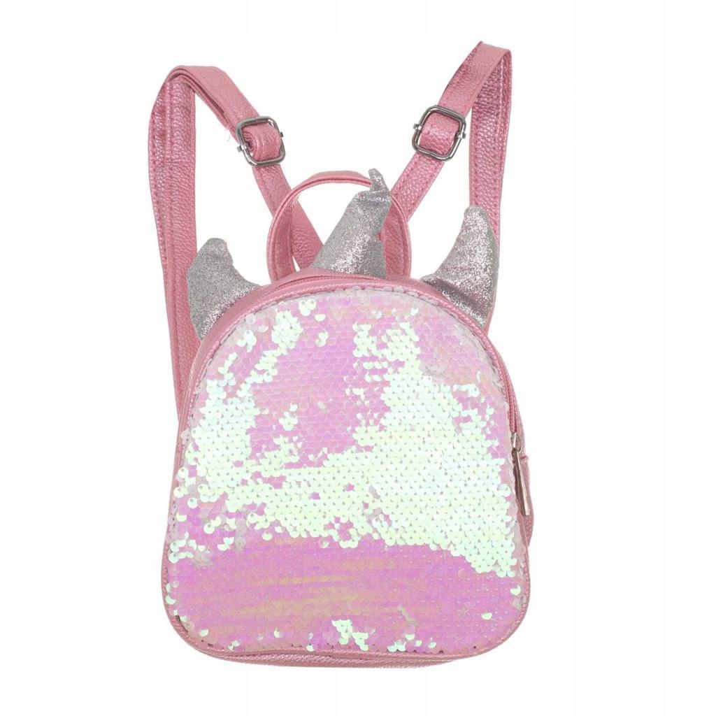 Plecak przedszkolaka cekinowy mini jednorożec różo