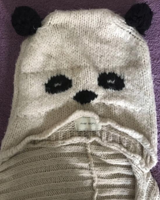 ASOS Panda miś czapka szalik komin