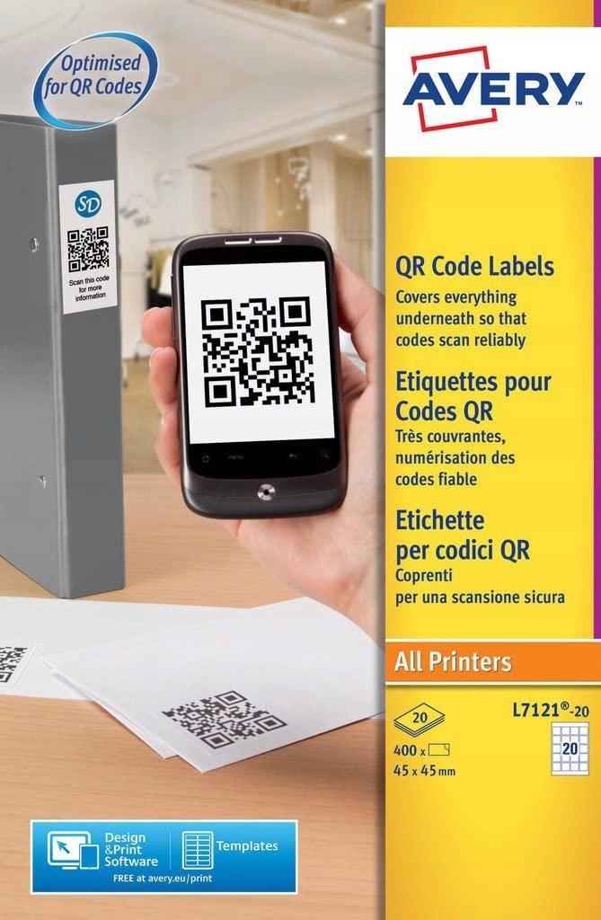 AVERY - Zestaw 400 samoprzylep etykiet z kodem QR