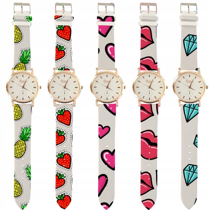 Zegarek dla kobiet DAMSKI GENEWA BIAŁY RÓŻNE WZORY