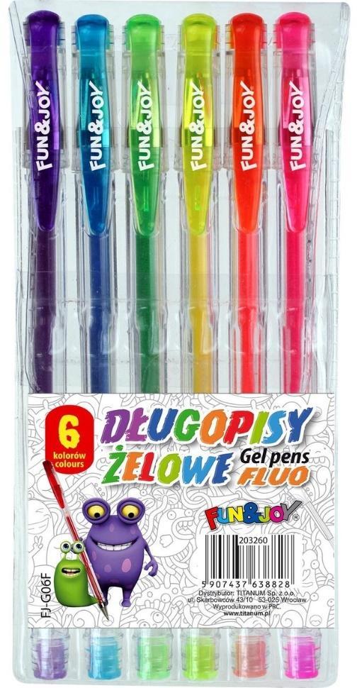 Długopisy żelowe fluo 6 kolorów Titanum