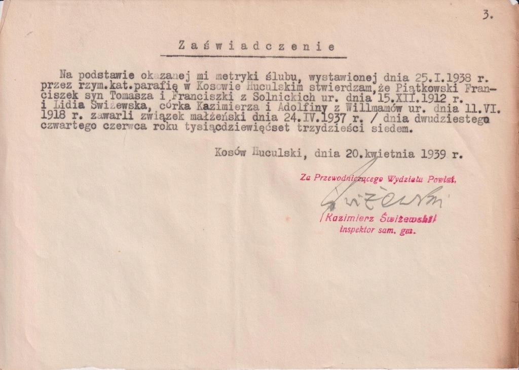ZAŚWIADCZENIE MAŁŻEŃSKIE KOSÓW HUCULSKI 1939