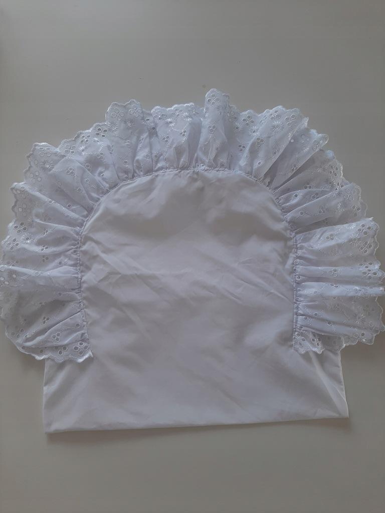 Poszewka biała koronka chrzest ozdobna chrzciny