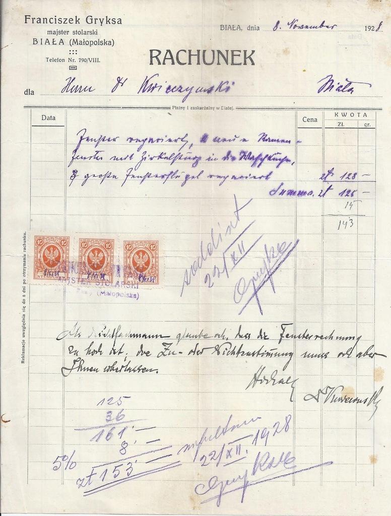 RACHUNEK BIAŁA MAJSTER STOLARSKI GRYKSA 1928