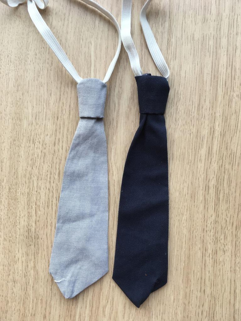 Krawat dziecięcy na gumce ŚLEDŹ - szary i granat