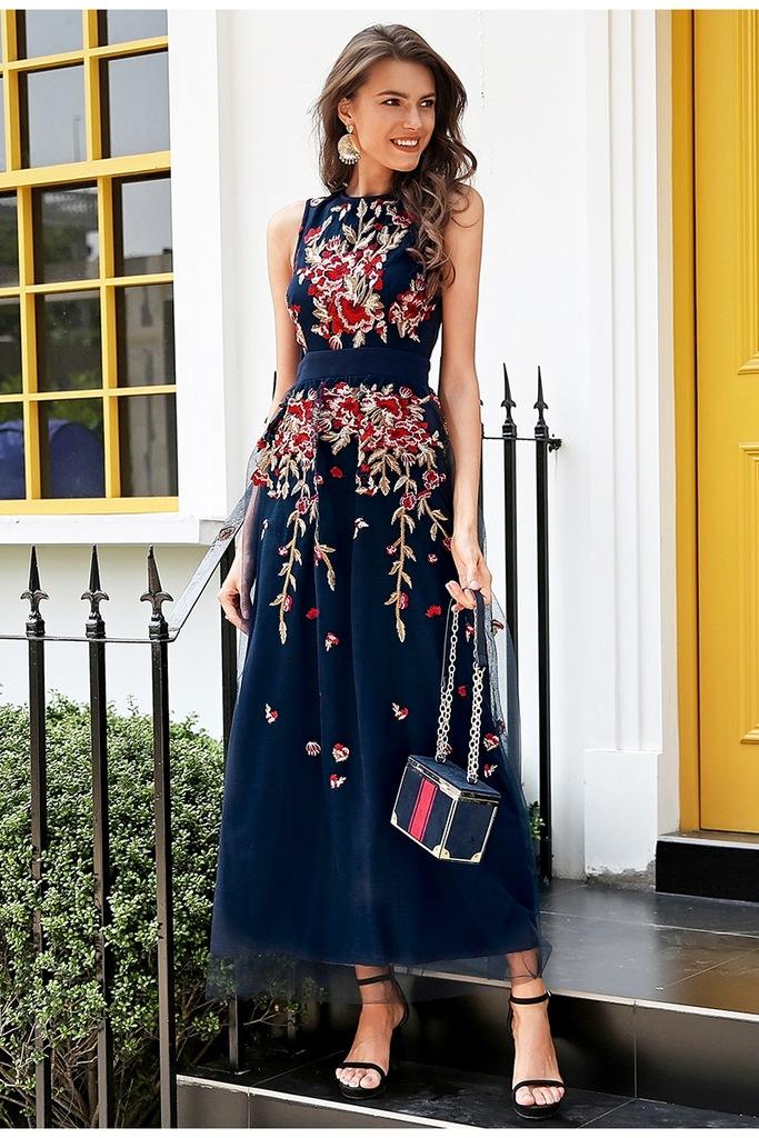 Sukienka długa kwiaty haft tiul wesele Zara Orsay