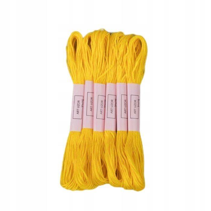 12 szt. nici mulinowe 8 ± 1 m kolor jasnożółty
