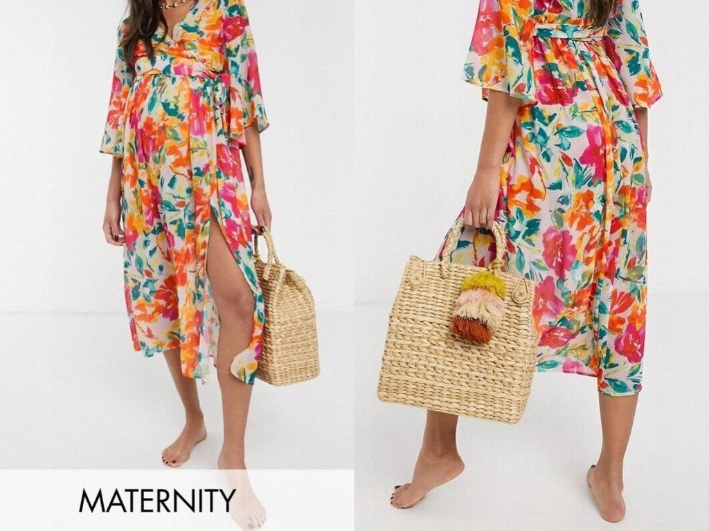 Unique 21 Maternity Spódnica Plażowa w Kwiaty S/36