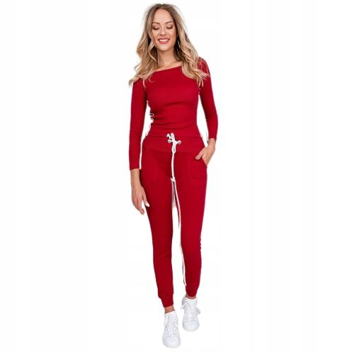 Komplet dresowy paski bawełna czerwony bordowy