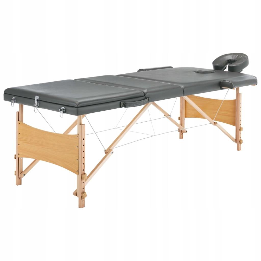 Stół do masażu z 3 strefami, drewniana rama, antra