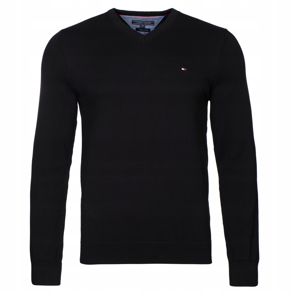 Sweter Tommy Hilfiger Czarny V-nk rozmiar M