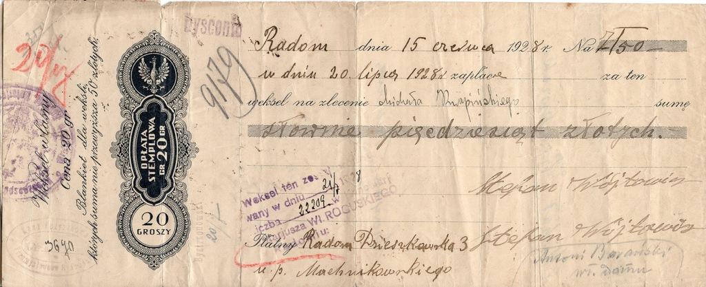 Weksel z protestem Radom 1928r