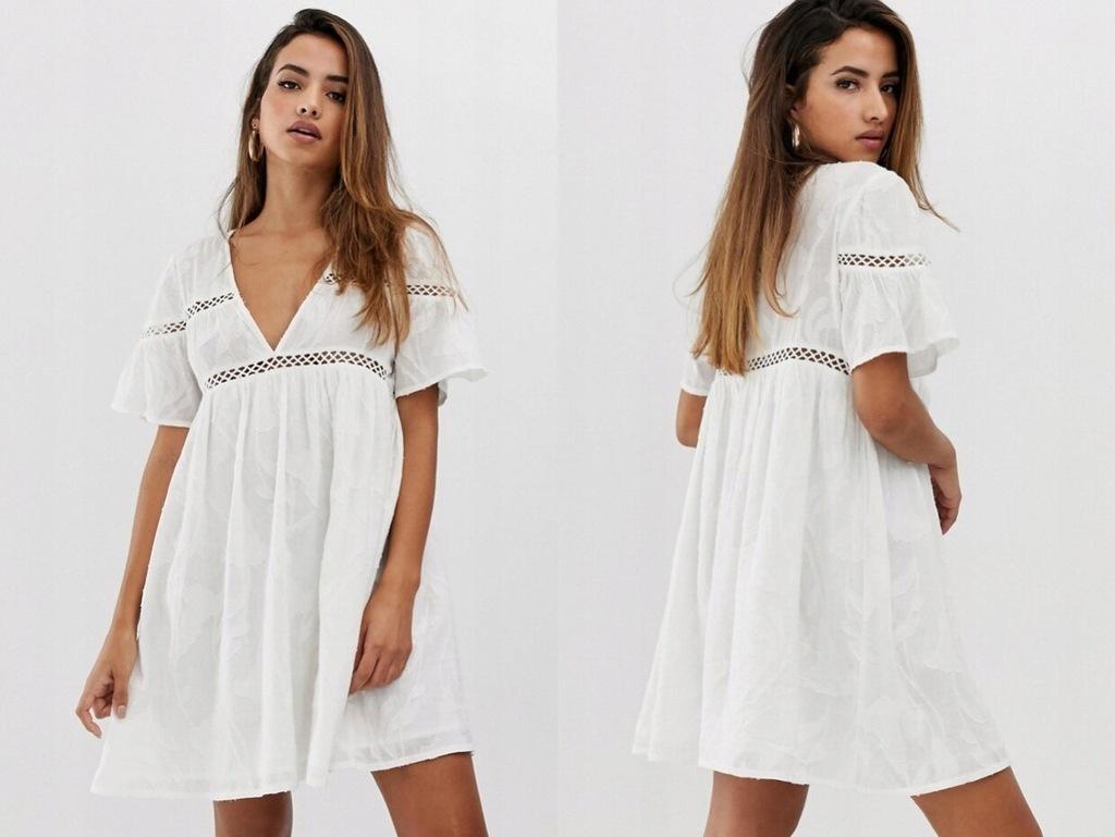 PrettyLittleThing - Biała sukienka w mini S/36