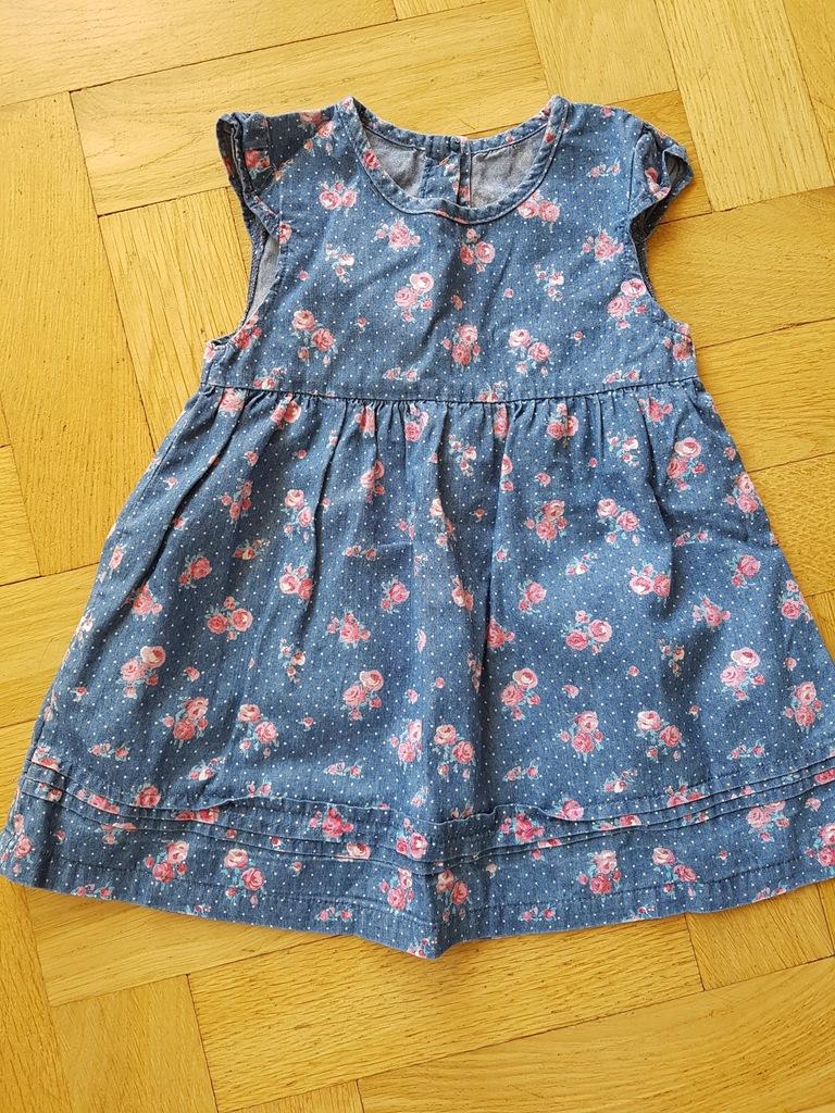 Sukienka jak jeansowa George 74/80 kwiaty bdb