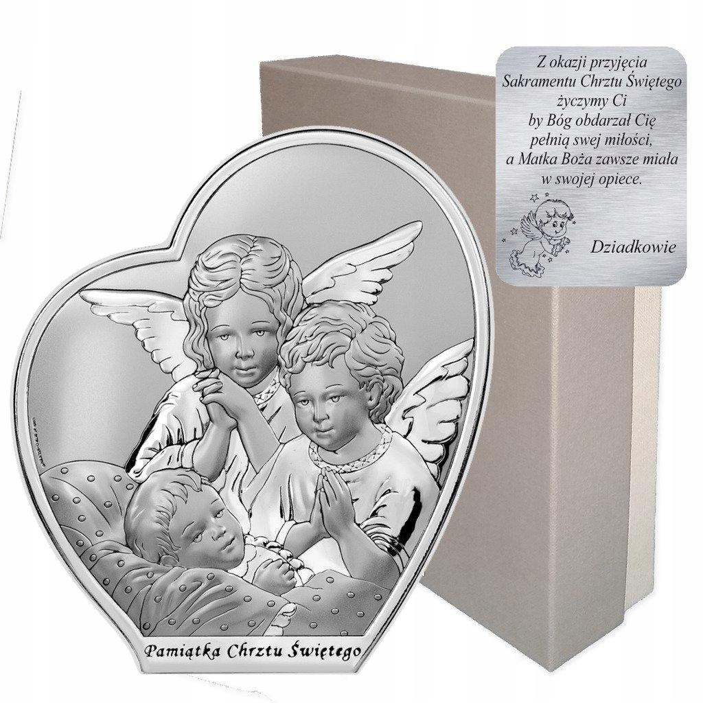 Obrazek srebrny Aniołki nad dzieckiem Pamiątka