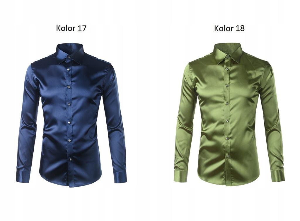 Koszula męska slim fit gładka satynowa kolory S 36  KmV4s