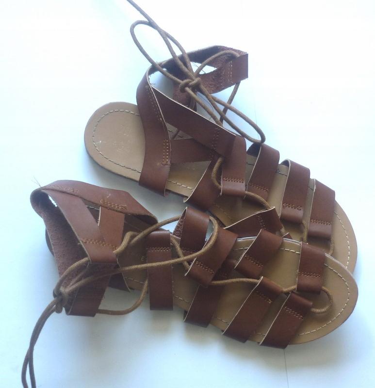 ATMOSPHERE Letnie Skórzane Sandały Gladiatorki