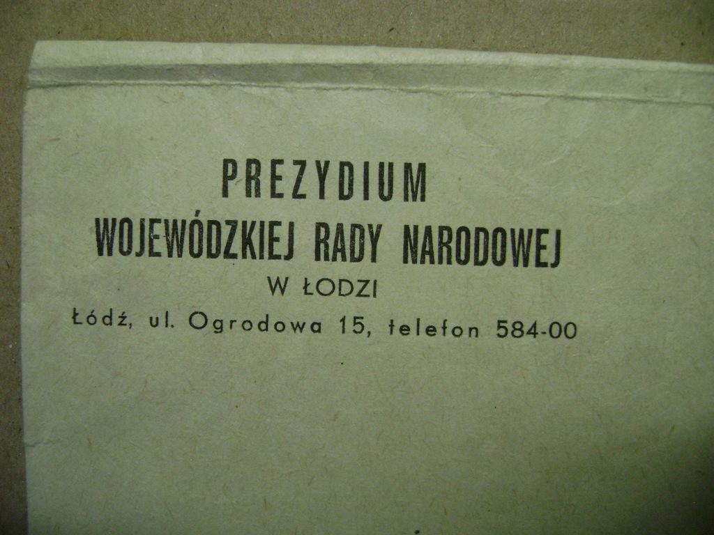 Łódź - Prezydium Woj. Rady Narodowej - koperta