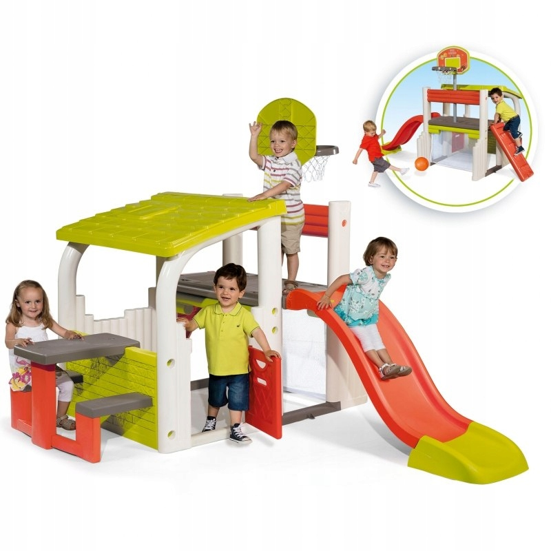 Smoby Wielofunkcyjny Plac Zabaw Zjeżdżalnia Domek