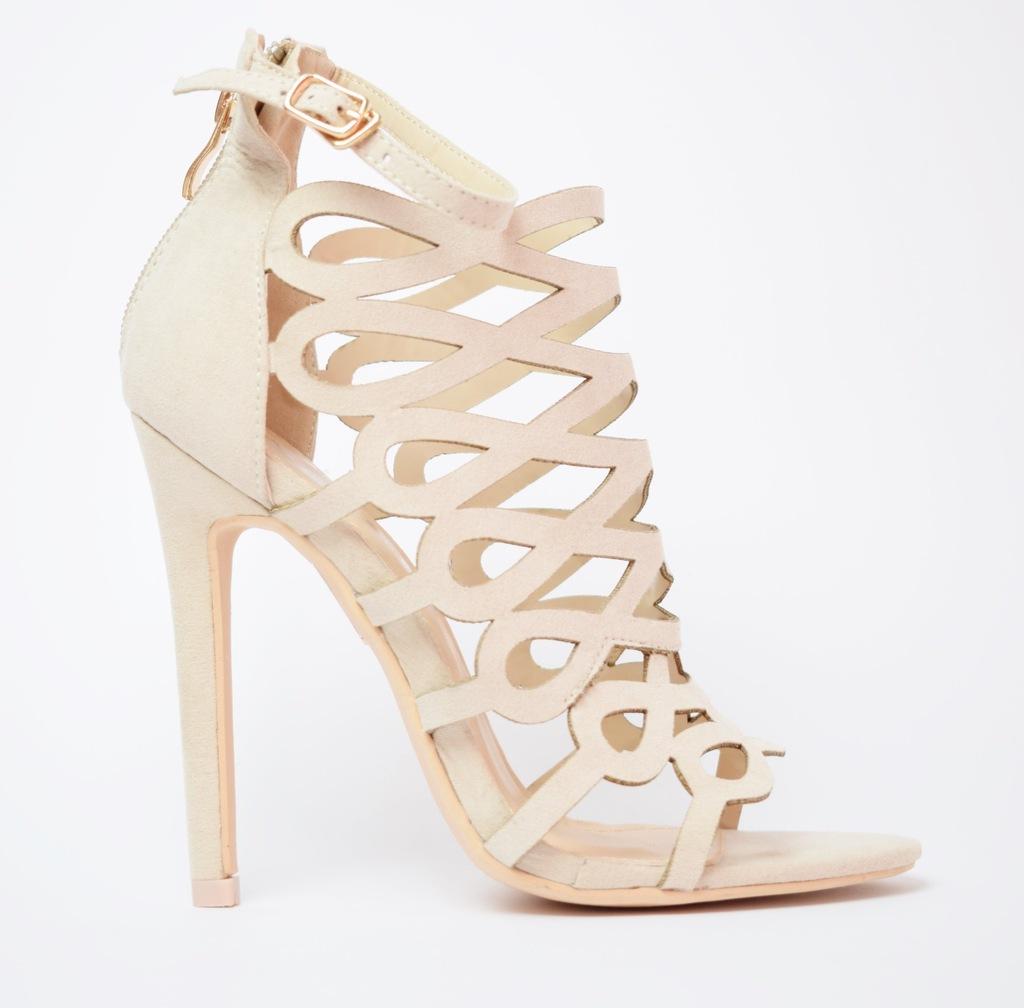 Beżowe ażurowe sandały szpilki VICES r. 39