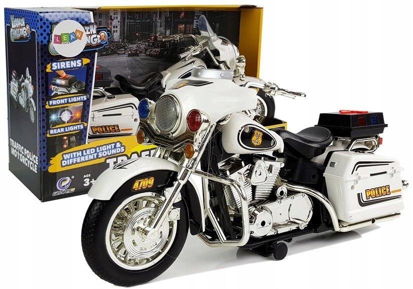 Motor Motocykl Policyjny Biało-Czarny z Dźwiękami