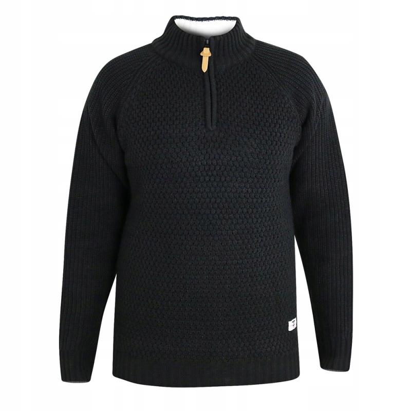 PRESTON-D555 Duży Sweter Męski Czarny 3XL