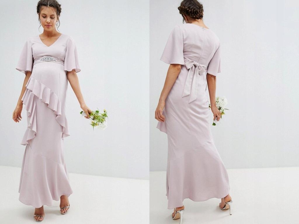 DESIGN Maternity Sukienka Maxi z Falbaną L/40